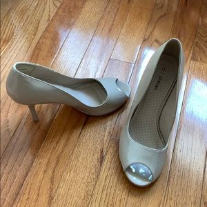 Call it spring open toe nude heels size 8